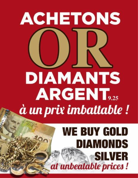 Achat d'or, de diamants et argent à Laval