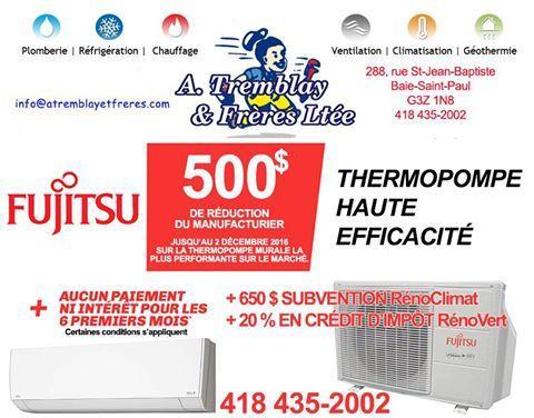 Promotion Fujitsu!      500 $ de rabais !     (Jusqu'au 2 décembre 2016 seulement.)
