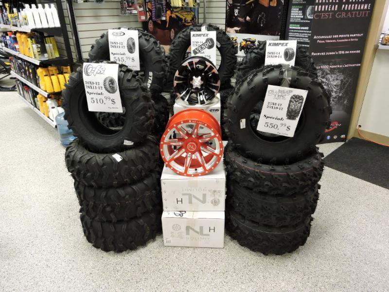vente pneus vtt, côte-à-côte et motocyclette