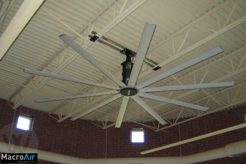 MacroAir HVLS(High Volume, Low Speed) Industrial Fans  it can make your space feel up to 8 degrees cooler & can be paired with your HVAC system. This allows you to save on energy & run your A/C at a lower level.