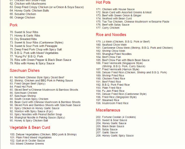 South ocean restaurant menu hours prices 141 for Asia asian cuisine richmond hill menu