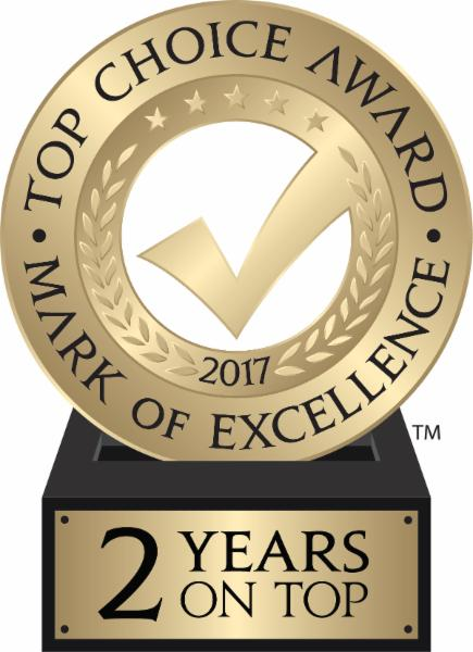 Top Choice Award 2017!  Two Years On Top!