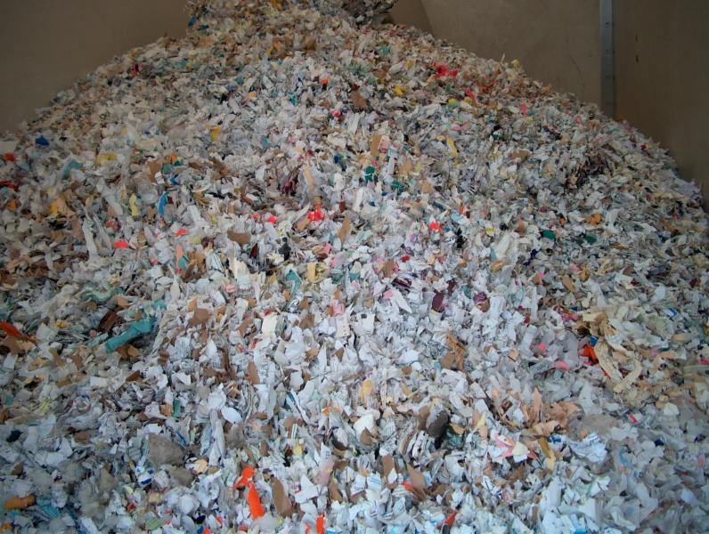 Shredded paper after processing