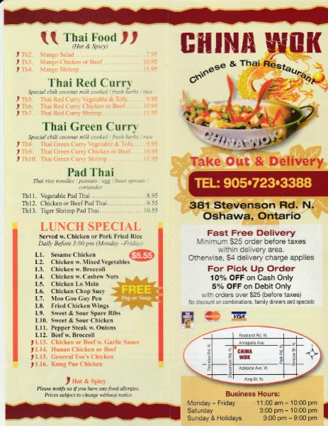 China wok menu hours prices 381 stevenson rd n for Asian cuisine oshawa