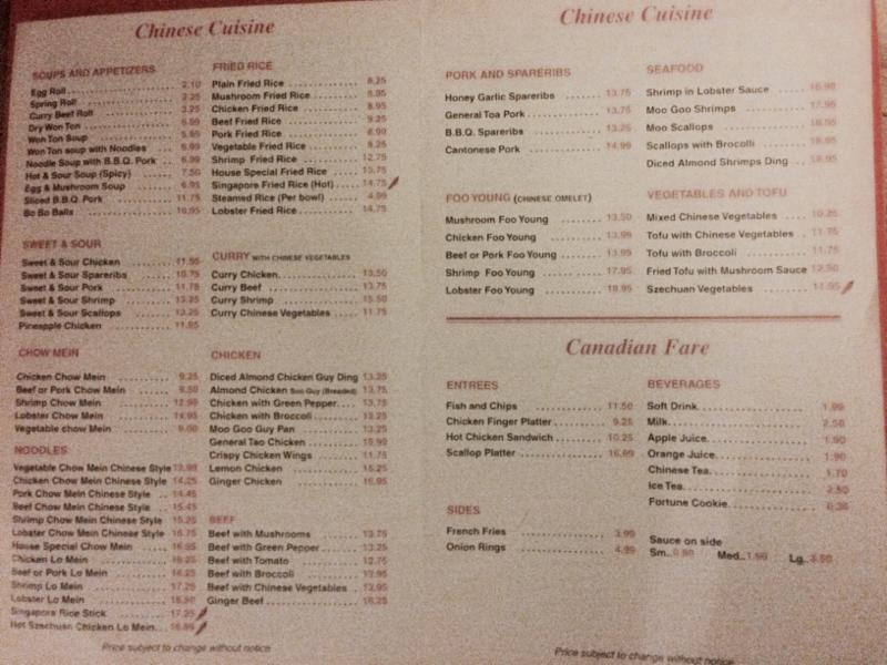Chinese and Canadian dishes
