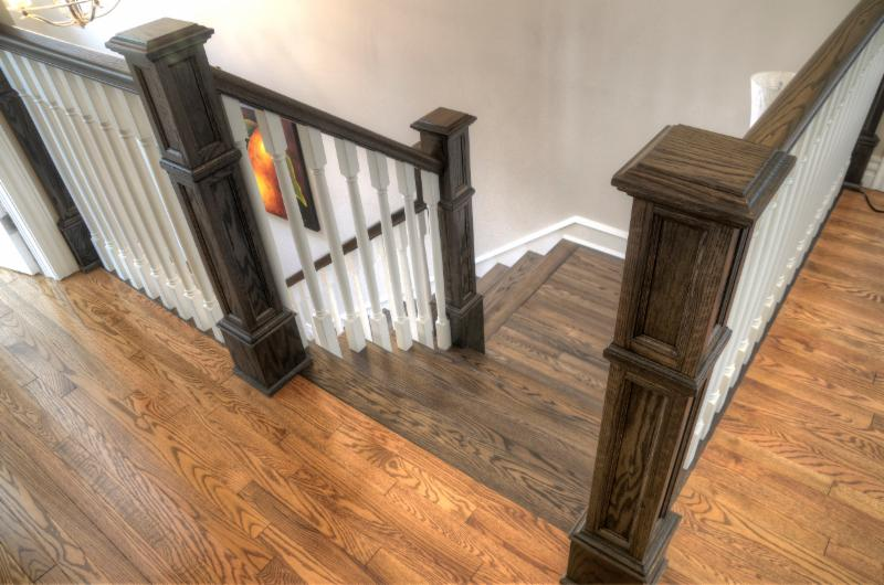 Oak Stained staircase with 5X5 custom posts & painted balusters