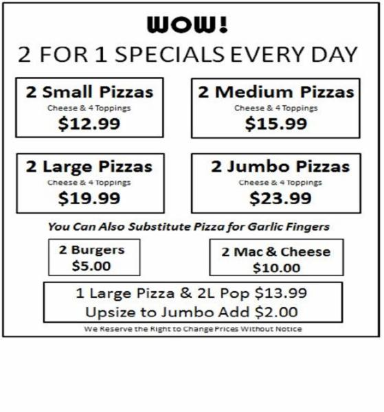 2 For 1 Specials Every Day