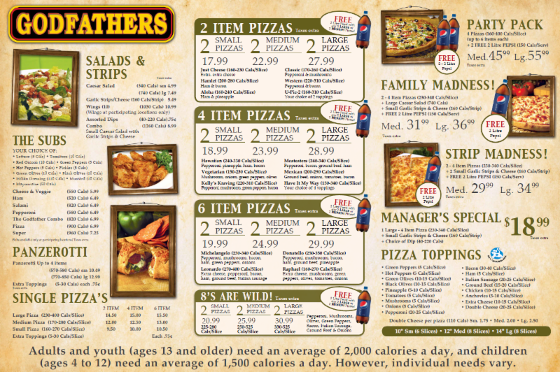 Godfather's Pizza, Pekin IL Opening hours. Godfather's Pizza is currently OPEN for business. No reviews nor any photos posted yet - be the first to post! Lunch starts. Lunch closes. Dinner starts. Dinner ends. Godfather's Pizza is listed as a local restaurant for the following areas.