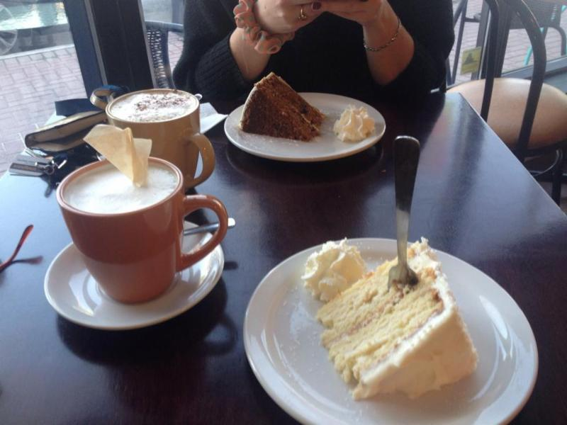 London Fog and some delicious cake.