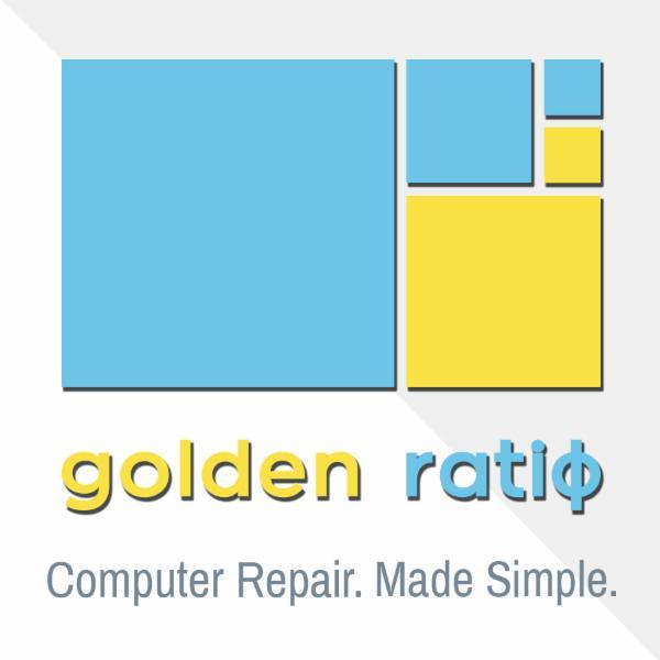 Logo avec slogan de Golden Ratio Tech Solutions - Réparation de portables et d'ordinateurs à Ottawa avec une garantie d'or de 90 jours !