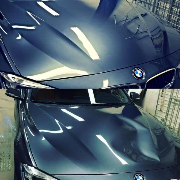 vandalism before and after 2016 bmw hood