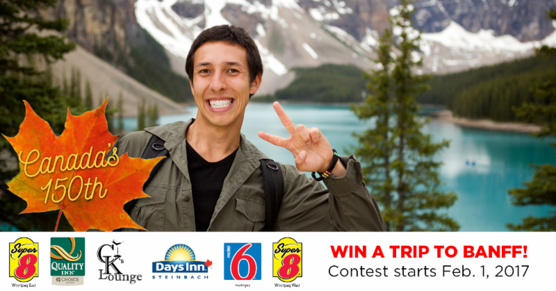 Everyone who stays at any of our Hotels or eats at our CK's Lounge from February 1 - June 30, 2017 will be entered into a draw for a Trip for 2 to Banff ! Winner to be announced on July 1, 2017. No purchase required