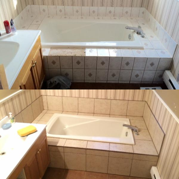 bathroom bathtub tile surround reno - before & after