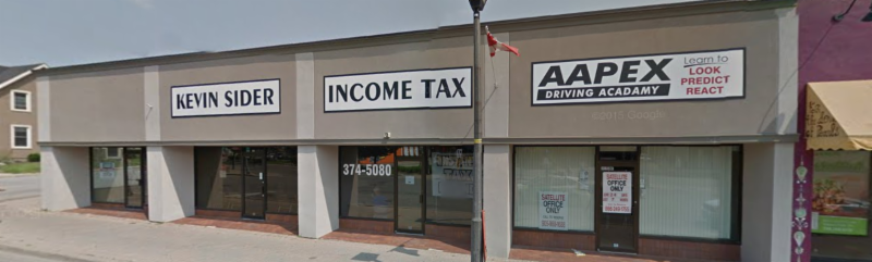 This is the Kevin Sider Tax office on Queen Street in Niagara Falls, Ontario.