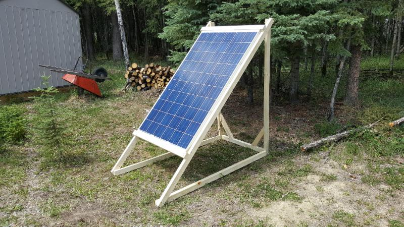 260 watt Jinko Solar Panel mounted on a semi-portable custom stand.