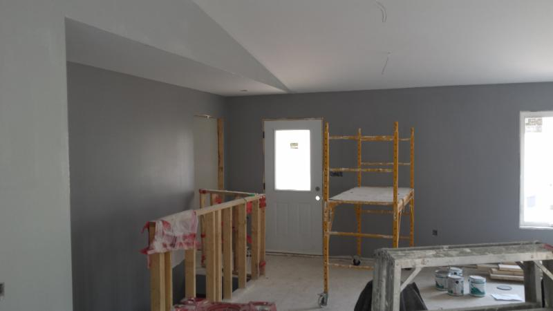 This house we did the drywall and taping. No call backs to fix anything. There are a lot of off angle in this home,