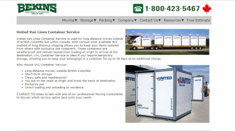 United Van Lines Container Service