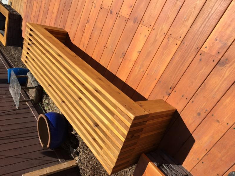 Cedar Deck     Cedar bench