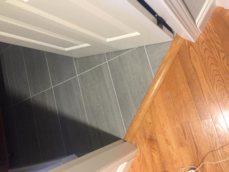 Bathroom renovation - tiling , floor transition