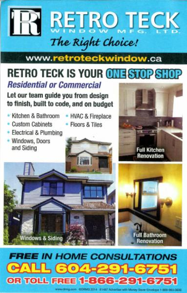 Retro teck window mfg ltd burnaby bc 104 8218 north for Window manufacturers near me